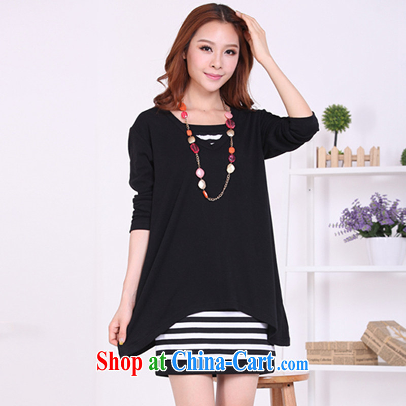 Meng-dress 2015 new Korean streaks graphics thin two-piece long-sleeved thick MM dress M 5093 black XXXXL