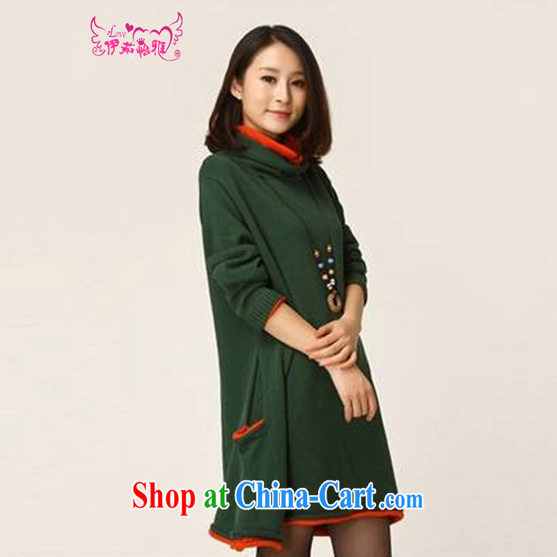 The Ju-Yee Nga 2014 autumn and winter women's code with high collar sweater, long, solid knitting knitting dress Y 12,788 large green code are code