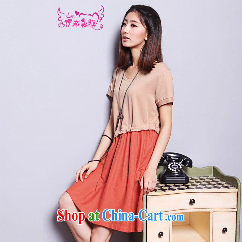 The Ju-Yee Nga summer the Code women's clothing the obesity MM cotton stitching retro cotton the dresses YQ 9180 apricot XXL