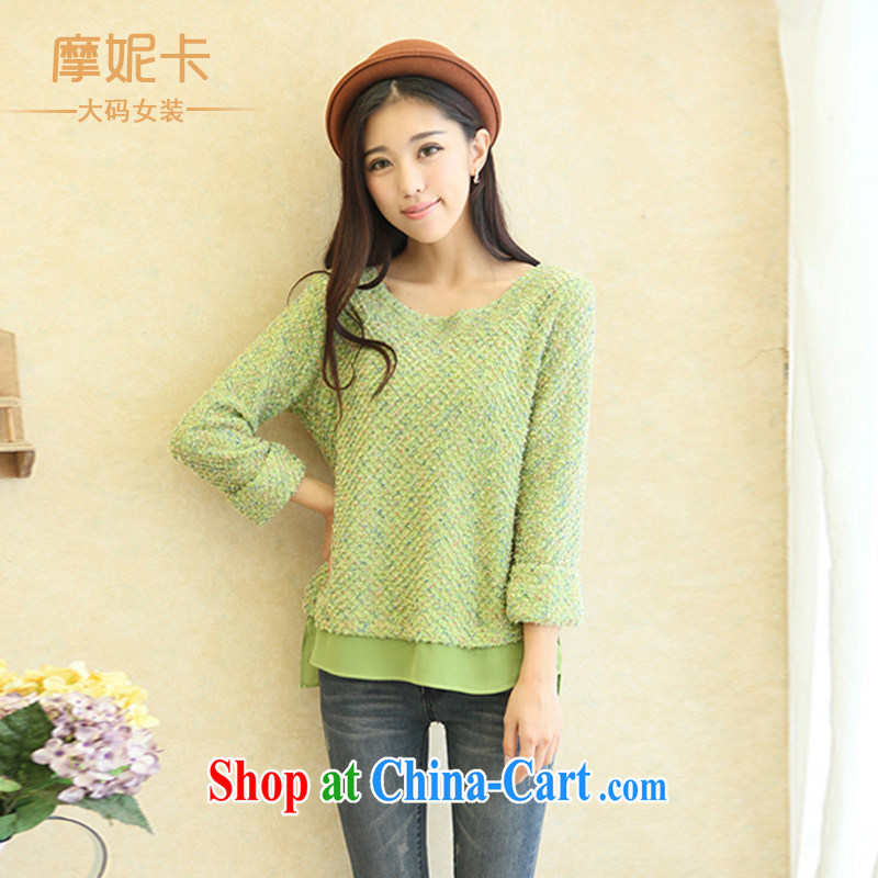 Moses Veronica larger women mm thick winter clothes 2013 new Korean video thin round-collar thick sister knitted T-shirt T-shirt green XL