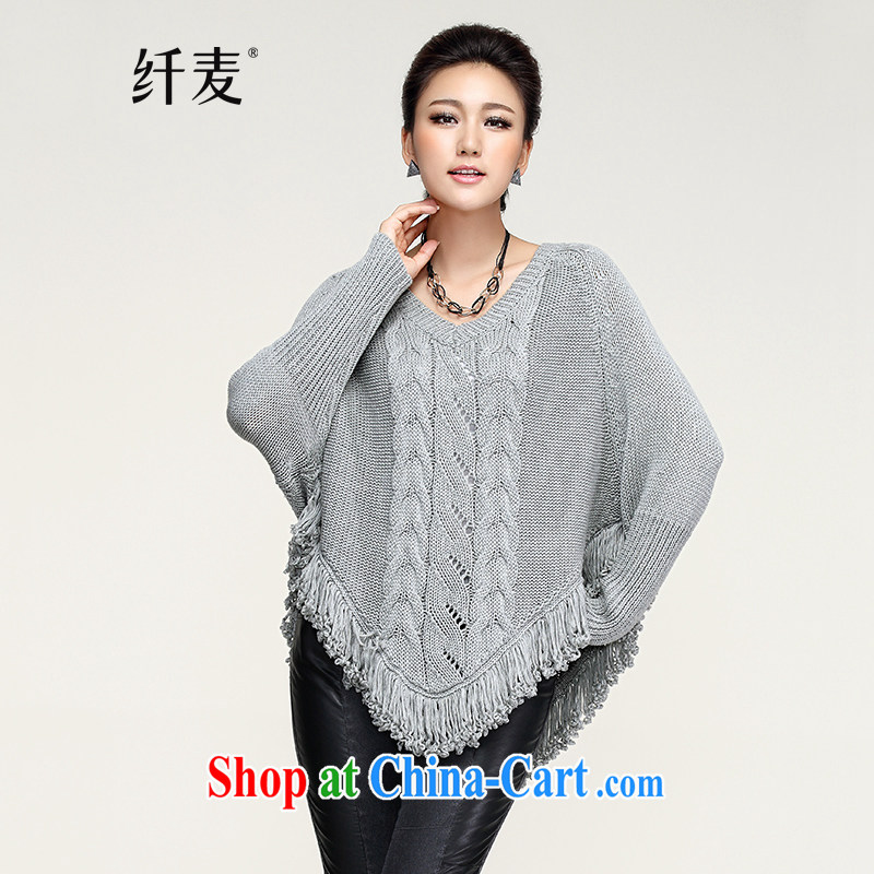 Slim, Mr Big, women fall 2014 with new thick mm stylish loose line waves, with sweater F 508 gray XXXL