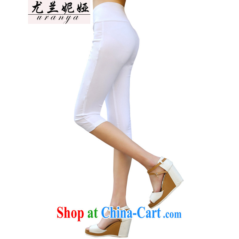 In particular, Anne Julia spring and summer, the female pants female graphics gaunt waist fat, video thin 7 solid pants, wear elastic solid pants girls summer white XXXXL