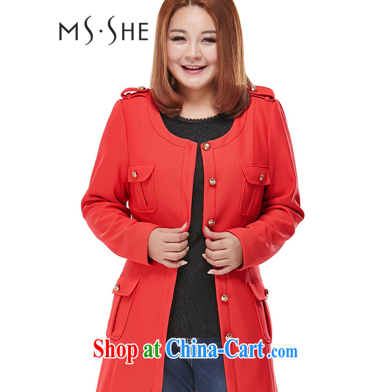 MSSHE XL ladies' 2015 spring jackets thick sister in long Korean Wind Jacket commuter clearance 5333 orange 2 XL