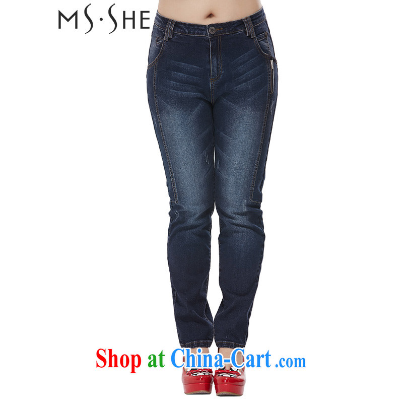 MsShe XL women 2015 spring loaded thick MM graphics thin cats to be castor pants pants jeans 9967 blue T 5
