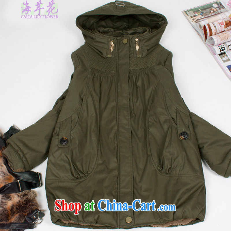 sea routes take new, heavy and warm thick large code quilted coat fall and winter liberal women's coats larger female NXS - WM green 4 XL