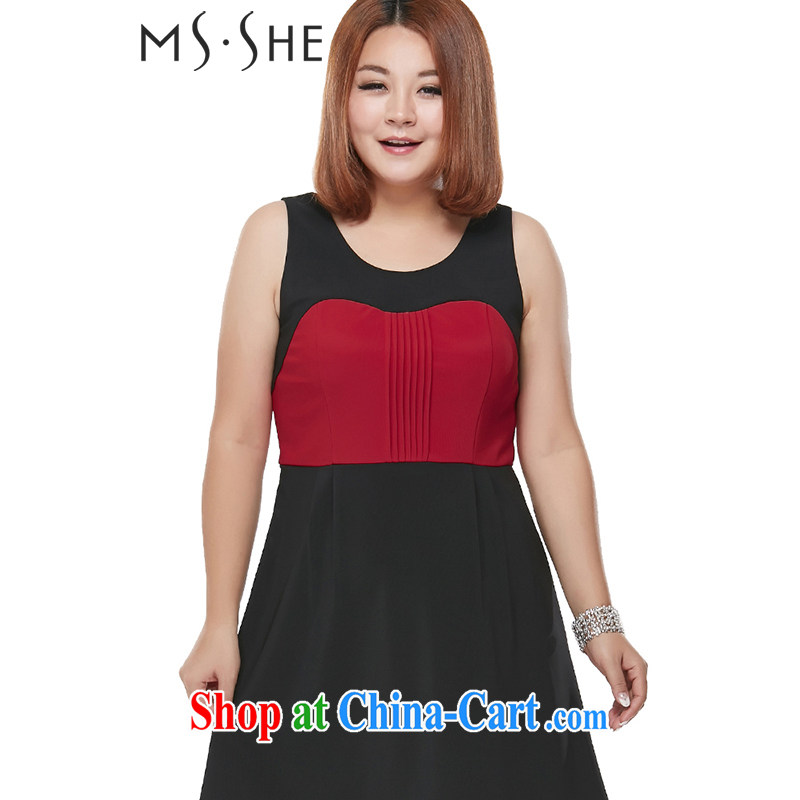 MsShe XL female 2015 mm thick spring big stitching knocked color vest skirt dress 3103 black 3 XL