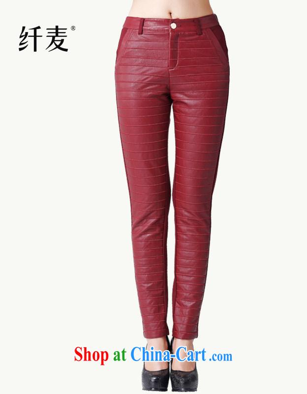 Slim, Mr Big, female 2014 autumn and winter, new mm thick streaks AB-PU stitching trousers HLku 131,172 ? red XXXXL