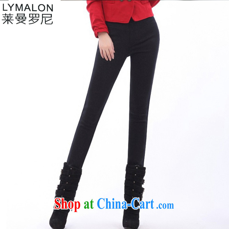 Lehman Ronnie lymalon 2014 autumn and winter, the Korean version cultivating the Code women with thick, lint-free cloth with warm spring pencil solid pants 20,051 black 5 XL