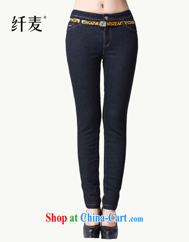Slim, Mr Big, female 2014 autumn and winter, new mm thick belt of warm quilted long jeans 3298 dark blue XXXL