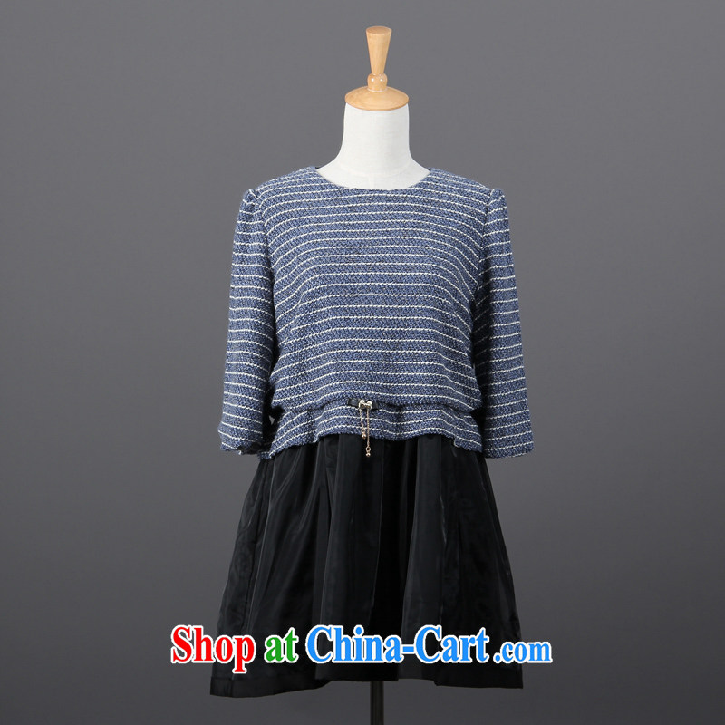 Clearance feelnet larger female streaks and indeed increase in cuff stitching, skirt video thin large code dress 791 blue 6 XL - 48 code