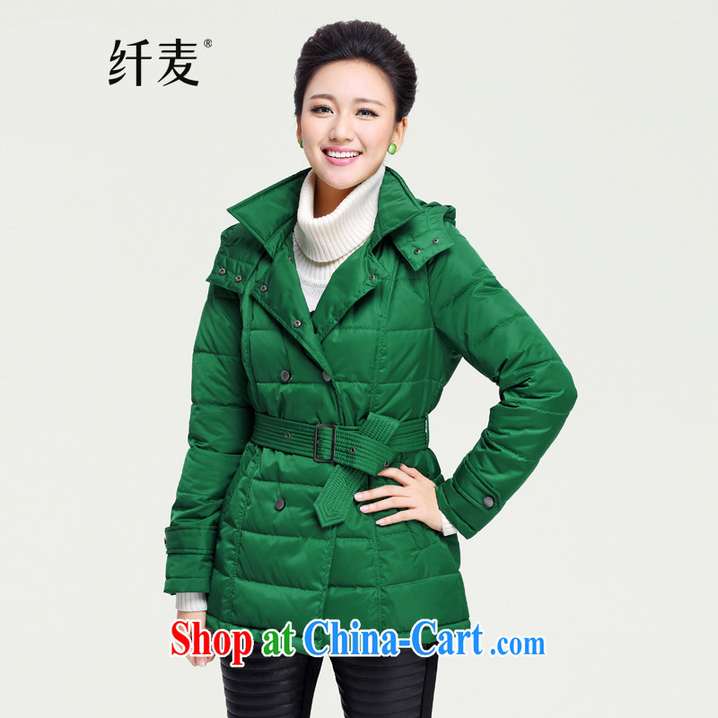 The Mak is the women's clothing 2014 autumn and winter new thick mm stylish the waist single row for the Netherlands countrysides ZN 131,117 green XXXL
