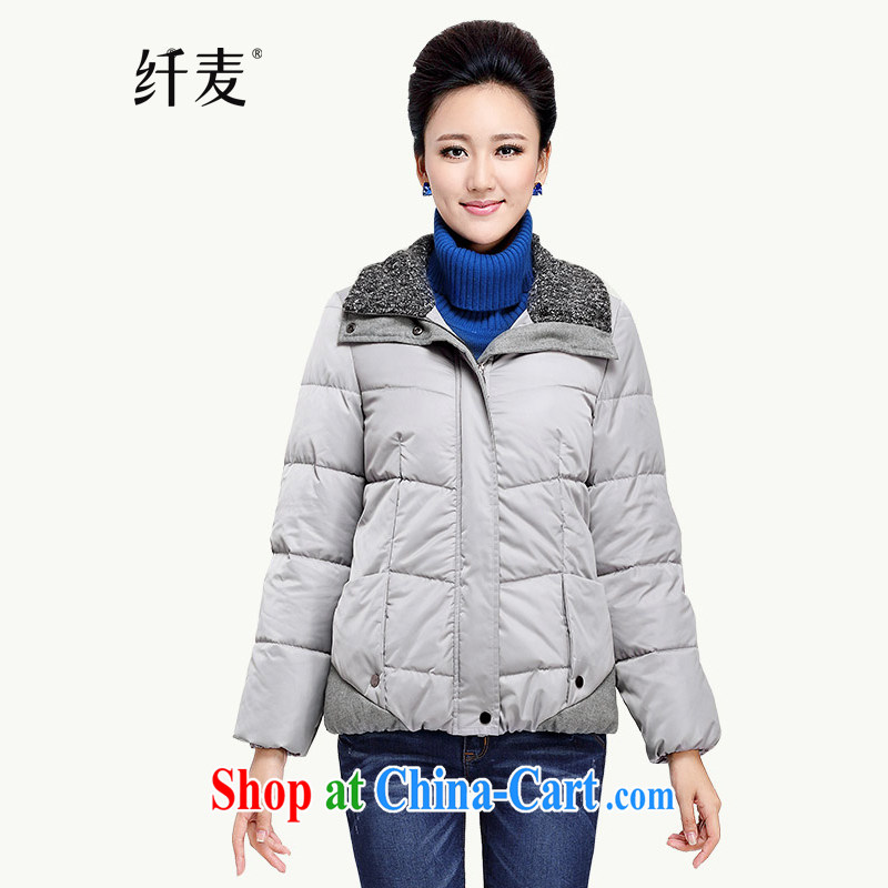 The Mak is the women's clothing 2014 autumn and winter new thick mm stylish loose stitching zip up collar quilted coat ZN 13,860 light gray XXXXL