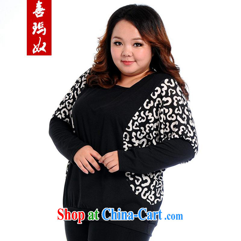 Hi Princess slave Korean thick MM larger female graphics thin black-out stomach bat T-shirt jacket long-sleeved T shirt T-shirt A 6079 Black Large Number 2 XL 170 Jack the following