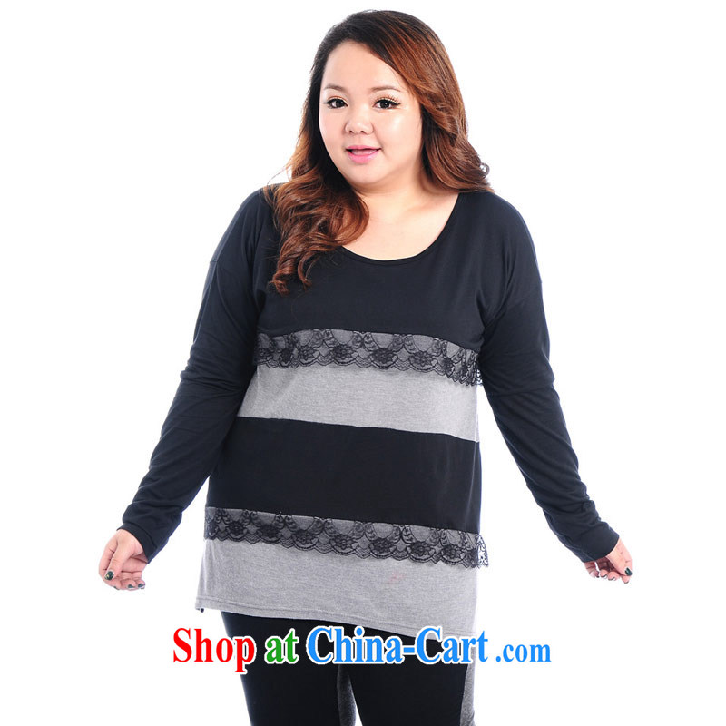 Hi Princess Won slavery and indeed increase, female fat MM long-sleeved round-collar T shirt pure cotton with solid color T-shirt A 6539 black 3 XL_chest of 130 CM
