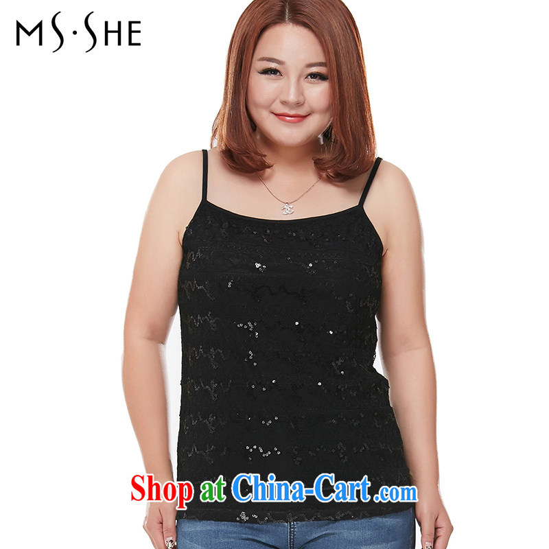 MsShe XL ladies' 2015 mm thick summer new, solid shirt strap vest 9962 black 5 XL