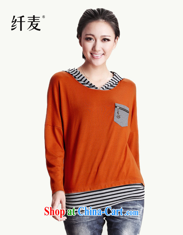 The Mak is the girl with 2014 new streaks and a false Two-piece long-sleeved shirt T female 12,199 orange M