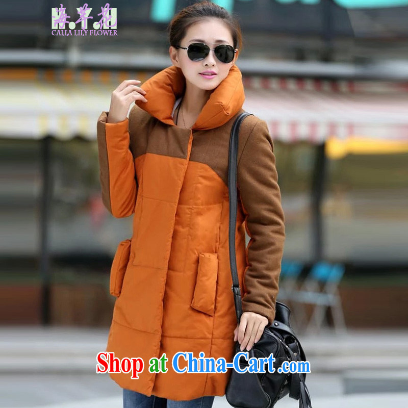 The line takes the Code women's clothing in winter, Korean video thin thick mm personalized tile long quilted coat relaxed thick warm artificial hair lining D 2 XPS orange stitching 4 XL