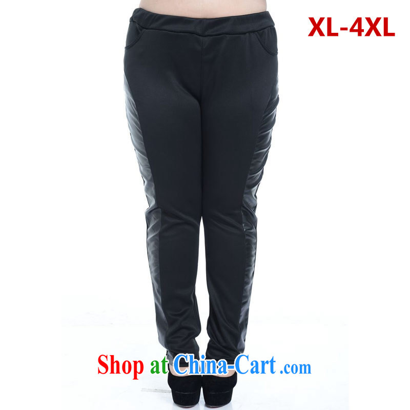 Hi Princess slave Korean large code and indeed intensify thick MMPU leather thick relaxed and modern graphics thin tile graphics thin trousers black 2 XL _not 170 jack, don't shoot_