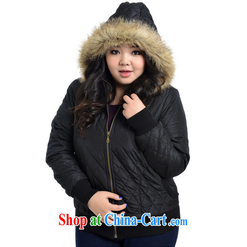 Hi Princess slave Korean thick sister larger female stylish loose video thin warm quilted coat long-sleeved jacket jacket cotton suit A 2289 black 3 XL/205 - 260 jack wear