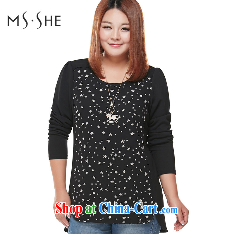 The MsShe indeed XL women 2015 spring new thick mm thick sister long-sleeved T-shirt T shirt solid T-shirt 5762 Black Star 5 XL