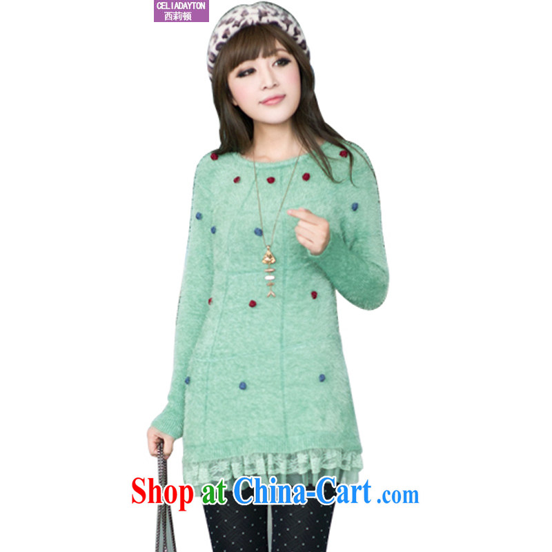 Ms. Cecilia Clinton's large, female 2014 autumn and winter, the Korean version, long, seahorses sweater girl cultivating solid stretch shirt, girls wearing woolen pullover jacket Green Green 圽 code
