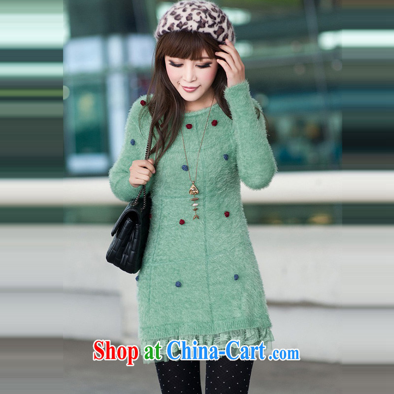 Ms. Cecilia Clinton's larger women 2014 autumn and winter, the Korean version, long, seahorses sweater girl beauty stretch solid shirts, girls wearing woolen pullover jacket Green Green 圽 codes, Cecilia Medina Quiroga (celia Dayton), online shopping