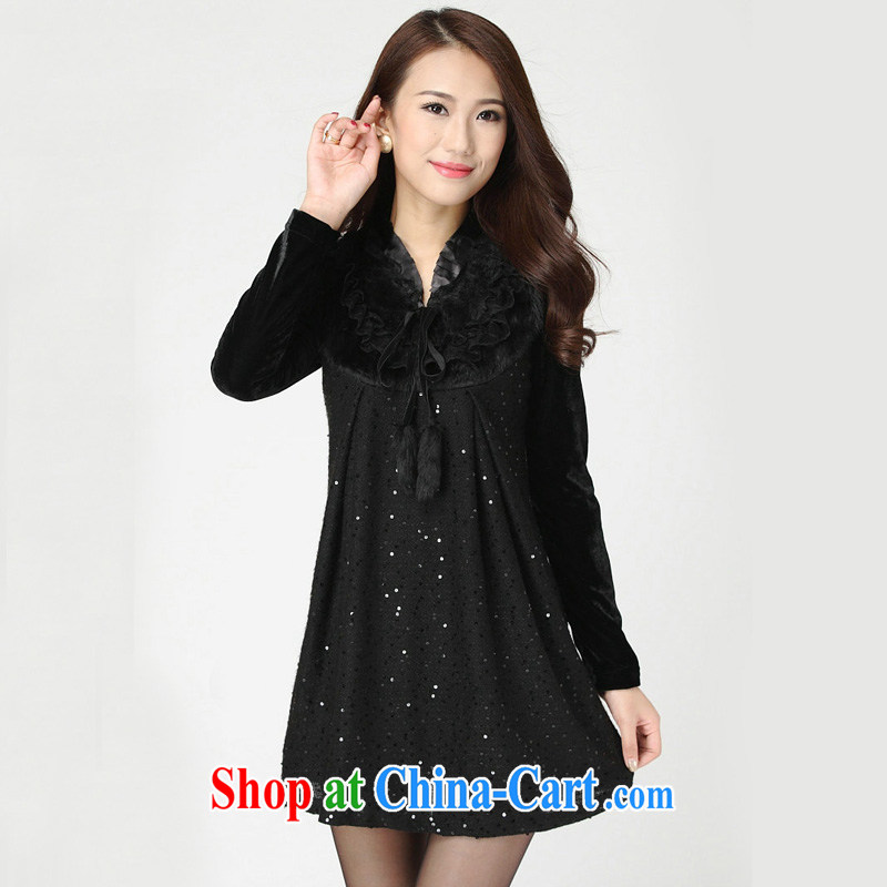 The Code's autumn and winter dresses 2013 thick sister XL autumn new products for gross video thin winter dress _2 D 70 _ Black L code