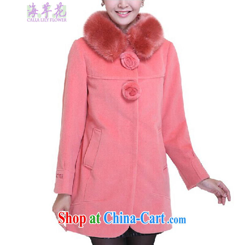 The line takes the Code women's clothing in winter, Korean video thin thick MM to remove hair in long, loose hair can thicken jacket warm D 2 HMF peach pink 4 XL