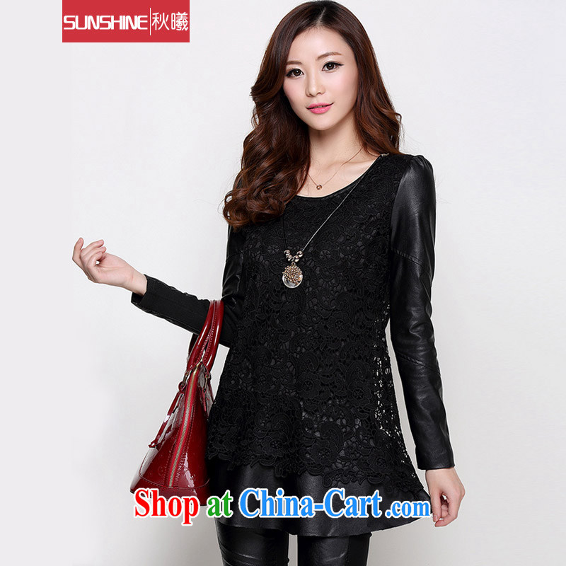 Sunrise House autumn 2014 autumn and winter new lace spell leather solid skirt the lint-free cloth warm, long, solid black shirt M