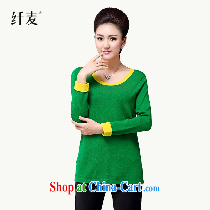 Autumn 2014 the slim Mak the Code women new thick mm stylish knocked color stitching H-sweater S 13,035 green XXXL