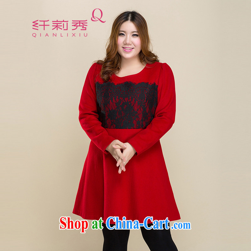 Slim LI Sau 2014 autumn new larger female lace stitching cultivating wool? The dresses Q 3208 red XL