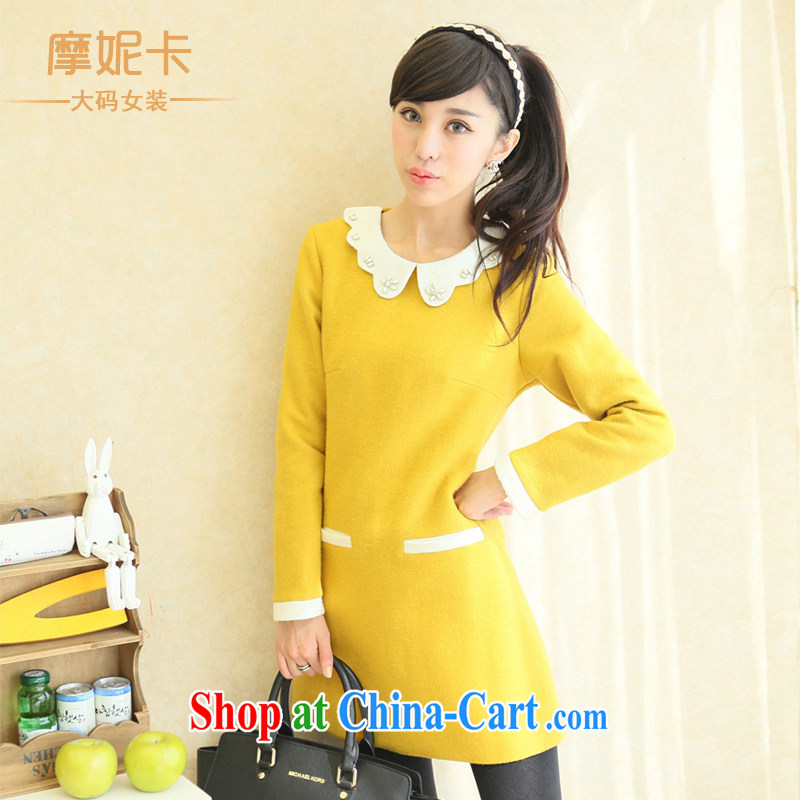 Connie Moses tab, female 2013 mm thick winter clothing Korean video thin new long-sleeved baby collar thick sister dresses yellow XXXXL