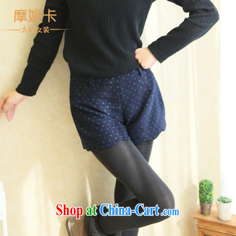 Moses Veronica larger female 2013 mm thick winter clothing Korean version of the new graphics thin little ground 100 leisure shorts girls pants blue XL