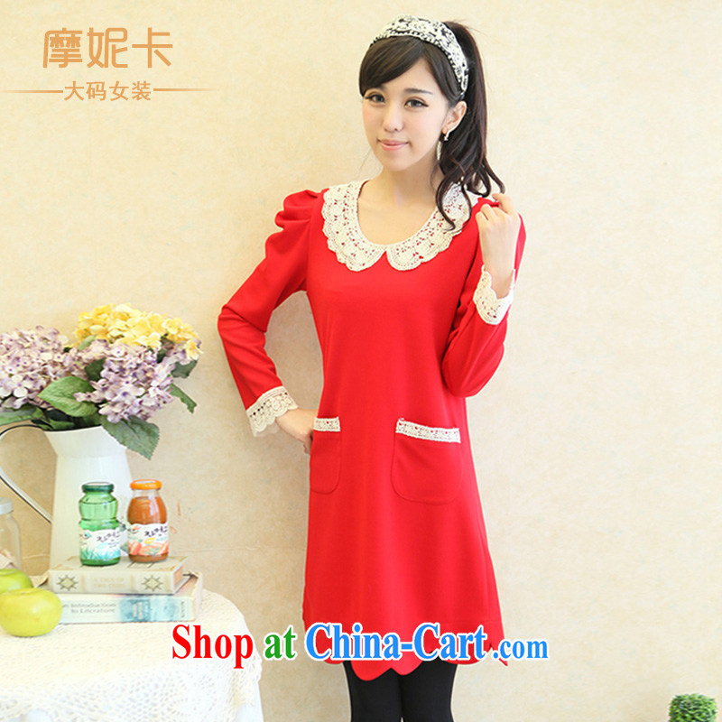 Moses Veronica 2013 the Code women mm thick winter clothing new Korean video thin doll for long-sleeved thick sister dresses red XXL