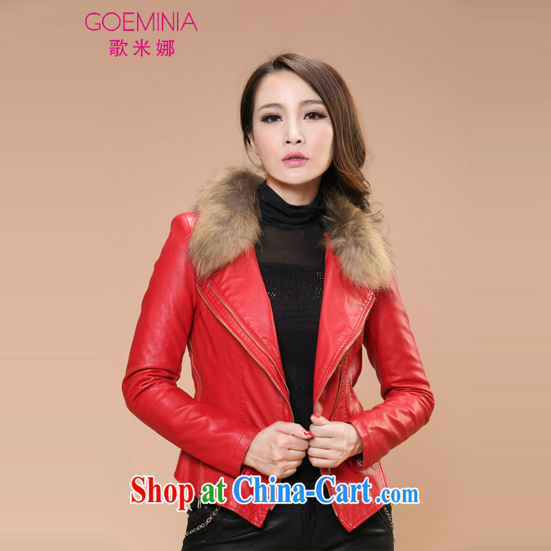 Song M, 2014 autumn and winter clothing new Korean Beauty quilted PU leather jacket really gross collar leather jacket larger jacket 86,163 red XXXL