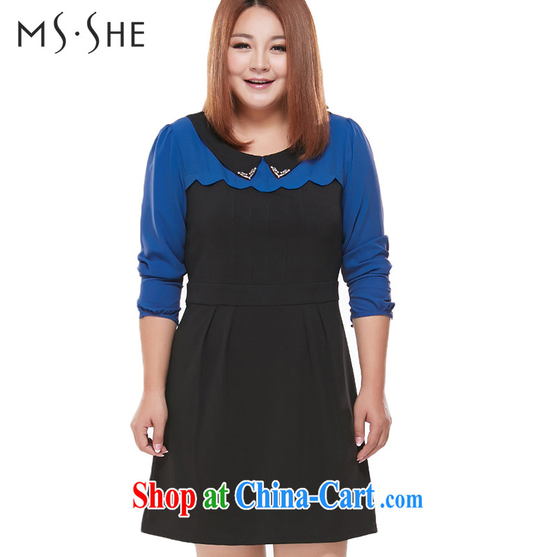 The MsShe Code women spring 2015 new emphasis on MM and indeed OL long-sleeved video thin dresses 5002 color blue 5 XL