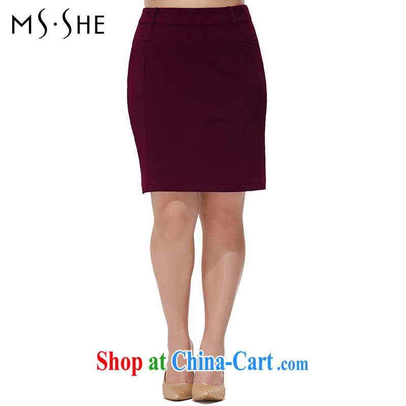 MsShe XL girls 2015 new summer commuter solid color body beauty skirt style skirts package and 5742 wine red T 6