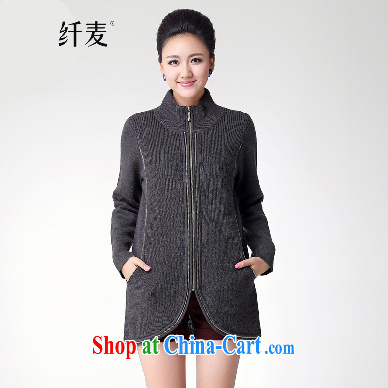 Slim, Mr Big, female 2014 autumn and winter new thick mm stylish loose long-sleeved high collar sweater S 13,005 dark gray XXL