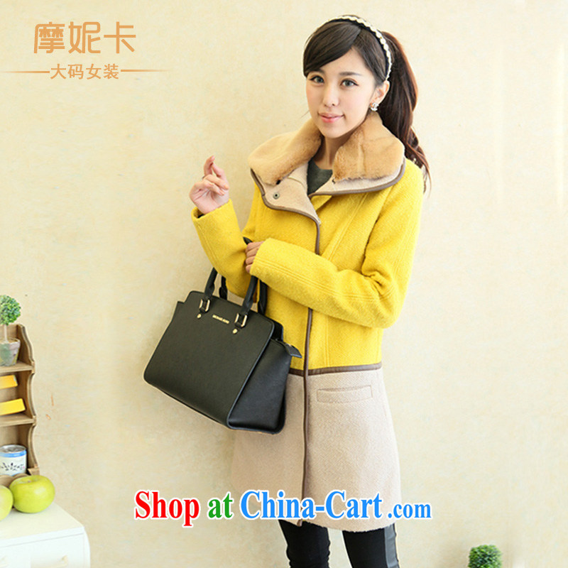 American Samoa Connie card the Code women 2013 mm thick winter clothes new Korean video thin long-sleeved warm hair? jacket coat female yellow XXL