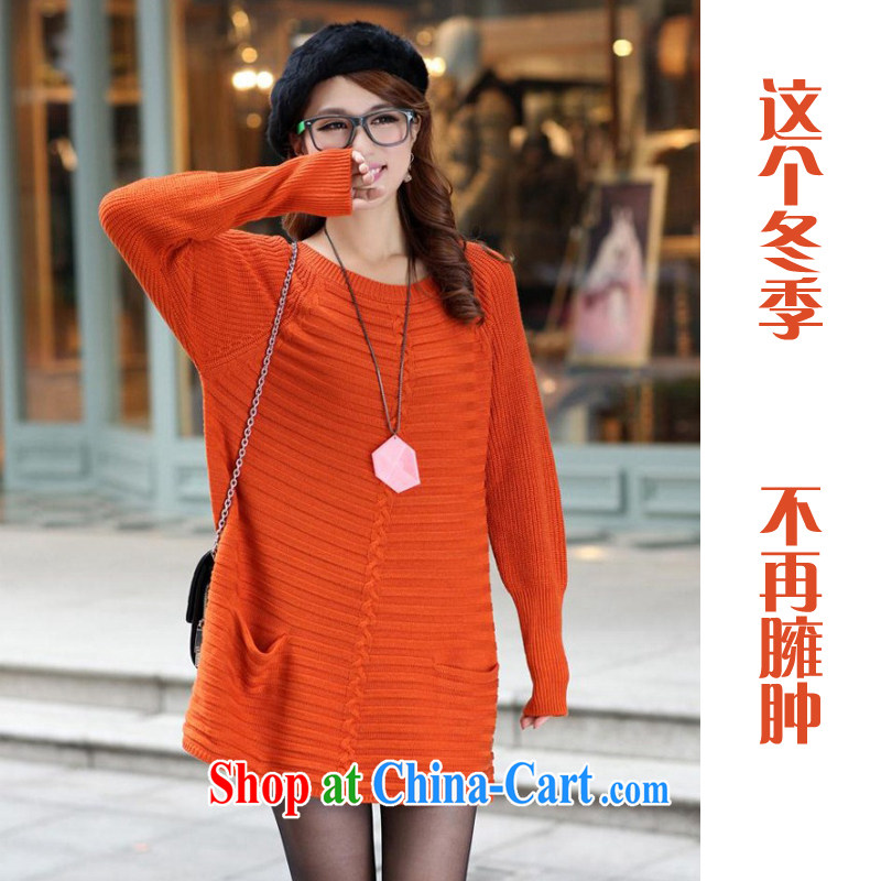 Mad giggling 2013 new large code woolen cashmere thick MM loose in Europe and long solid sweater girl 1085 orange large code are code