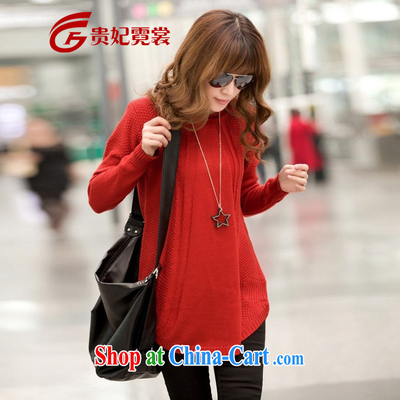 queen sleeper sofa Ngai advisory committee 2015 mm thick spring Korean version of the greater, female, long-sleeved, loose solid T-shirt knit sweater sweater 1152 red XXXL
