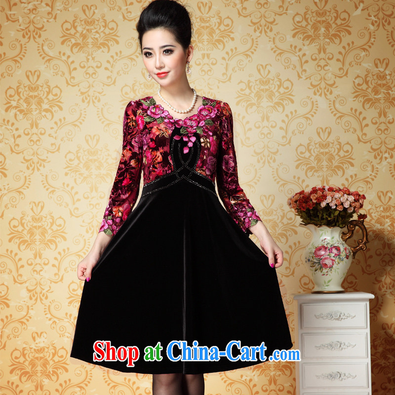 ? _ spring 2015 the new Golden wool high waist graphics thin large skirts hot suit embroidered larger women dress 6942 black 3 XL