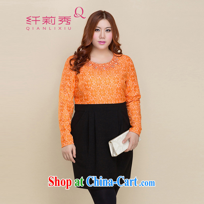 Slim LI Sau 2014 autumn and winter new larger female elegant round-collar pin Pearl lace stitching cultivating long-sleeved dresses Q 3213 orange XL
