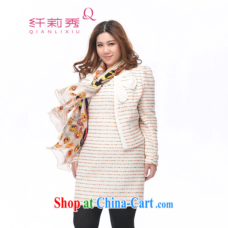 Slim LI Sau 2014 autumn and winter new larger female beauty close bubble cuff bow-tie decorated with short jacket, 3285 Q apricot XXXXL
