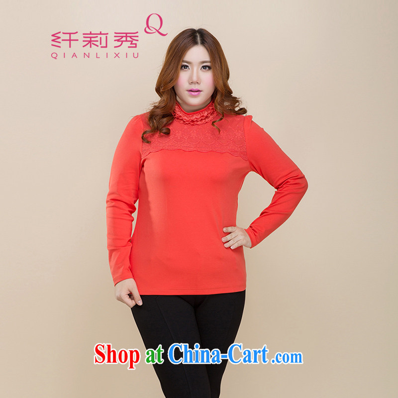 Slim Li-su 2014 autumn new, larger female and lint-free cloth thick warm level lace lace up collar cultivating solid shirt Q 3295 orange XL