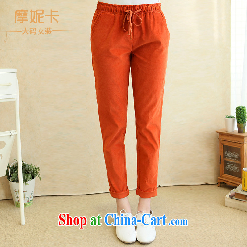 King, female 2014 Korean spring new thick sister elasticated waist straps leisure video thin trousers trousers children orange XL