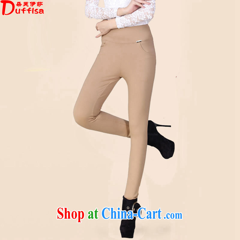 Flower could be the Isabel 2015 spring new Korean high pop-up the code fit high waist castor solid pants click through pencil pants boots trousers 80 - 200 Jack light card 5XL