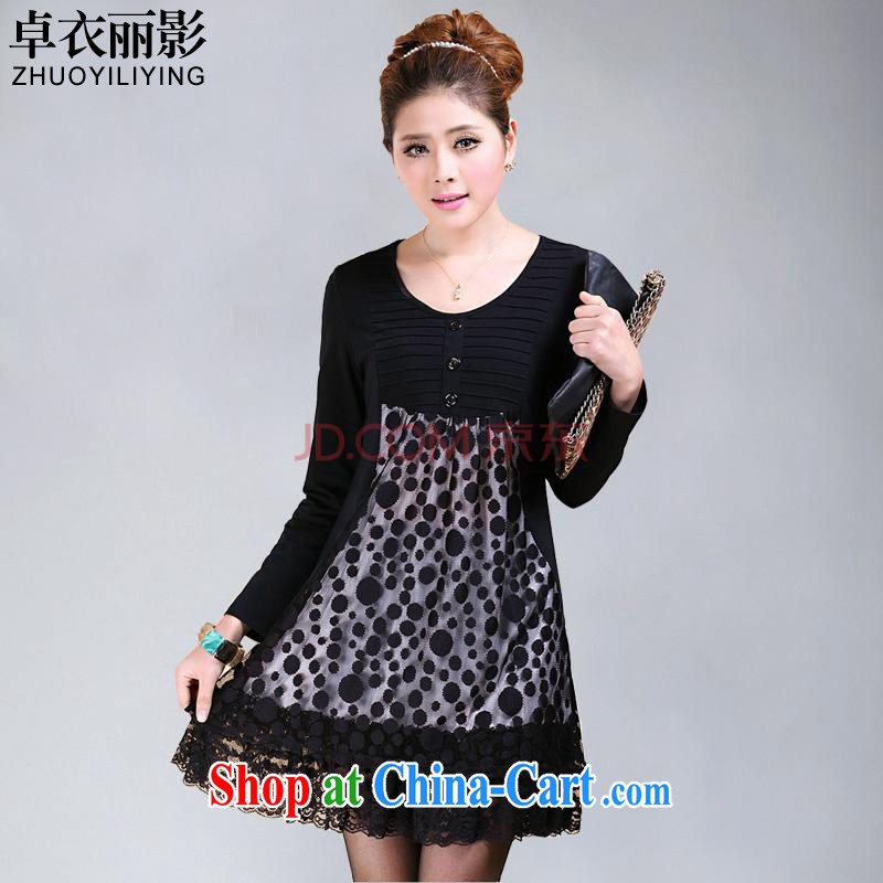 Cheuk-yan Yi Lai film 2015 spring new large, female sexy lace check take stitching round-collar solid dress M 3095 black XL