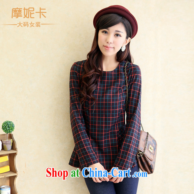King size, female 2014 spring new thick mm commuter British wind round-neck collar long-sleeved checkered graphics thin T-shirt girls tartan XXXL