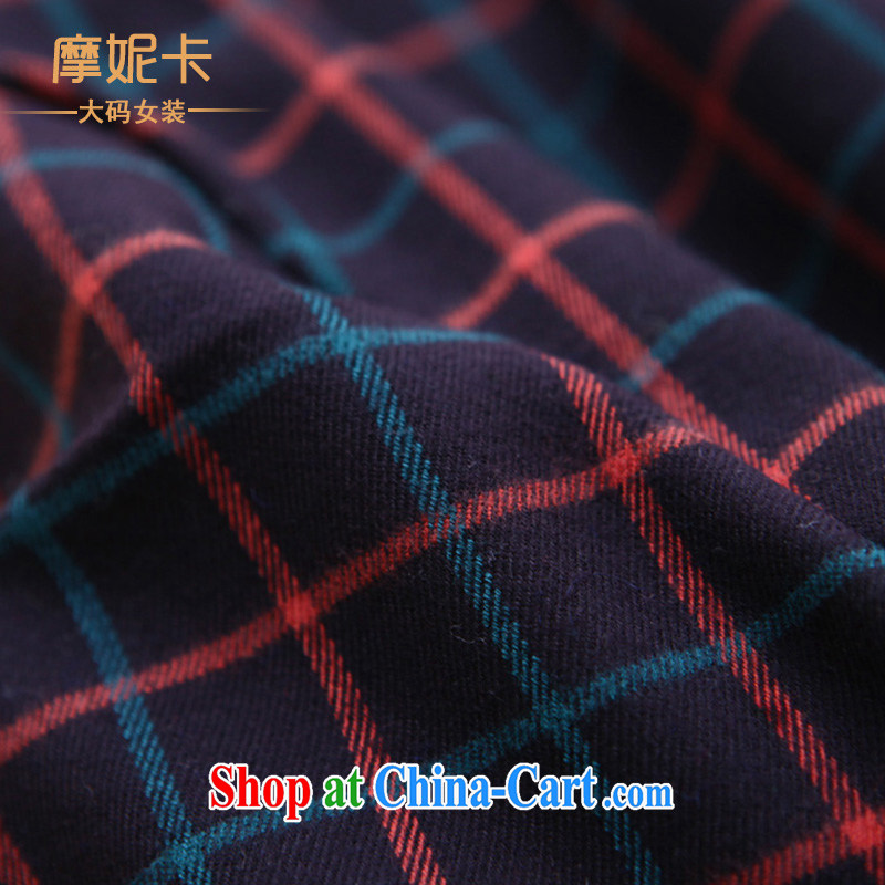 King size, female 2014 spring new thick mm commuter British wind round-collar long-sleeved checkered graphics thin T-shirt girls tartan XXXL, Veronica, the Code women, shopping on the Internet